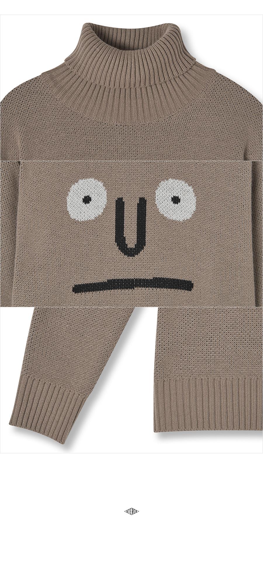 스테레오 바이널즈(STEREO VINYLS) [AW17 NOUNOU] Turtleneck Knit(Dark Beige)