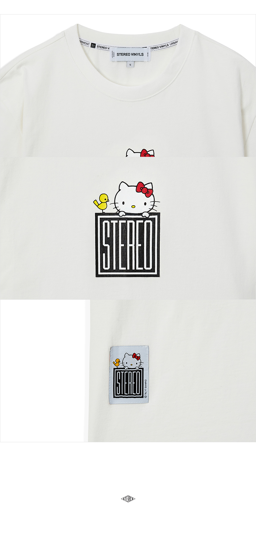 스테레오 바이널즈(STEREO VINYLS) [Hello Kitty] Square Logo S/S T-shirts(White)