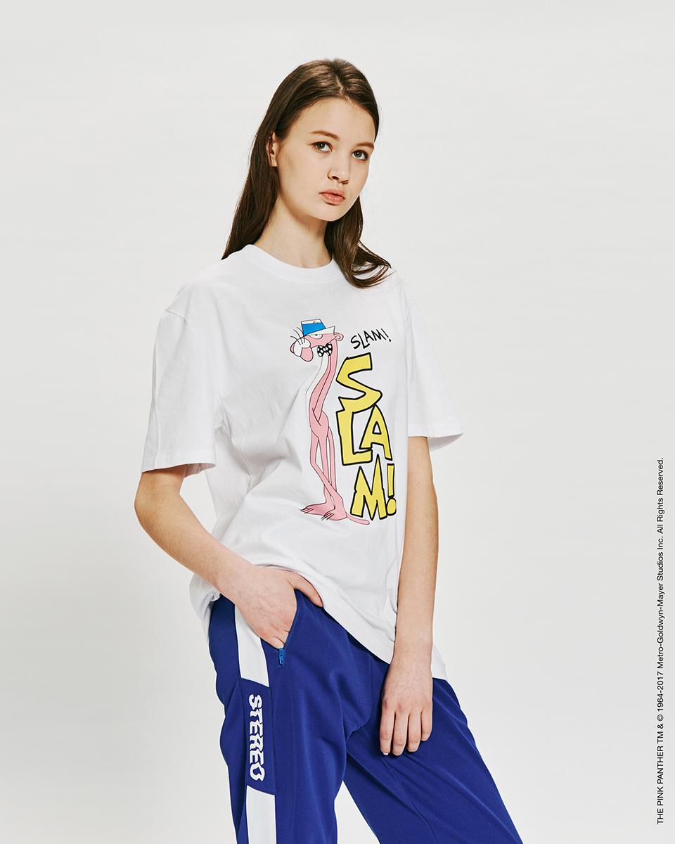 스테레오 바이널즈(STEREO VINYLS) [Pink Panther] Slam S/S T-shirts(White)