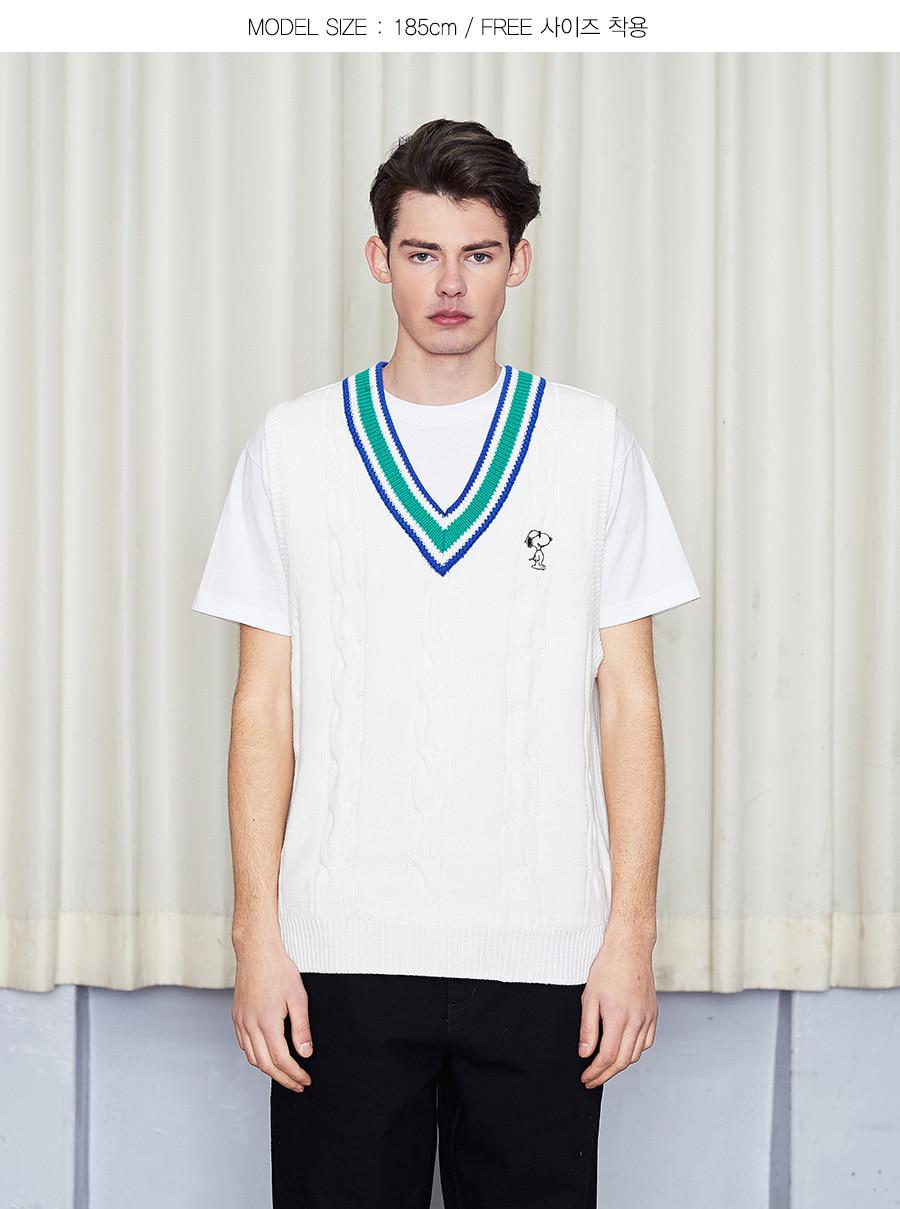 스테레오 바이널즈(STEREO VINYLS) [SS18 Peanuts] Cable Knit Vest(White)