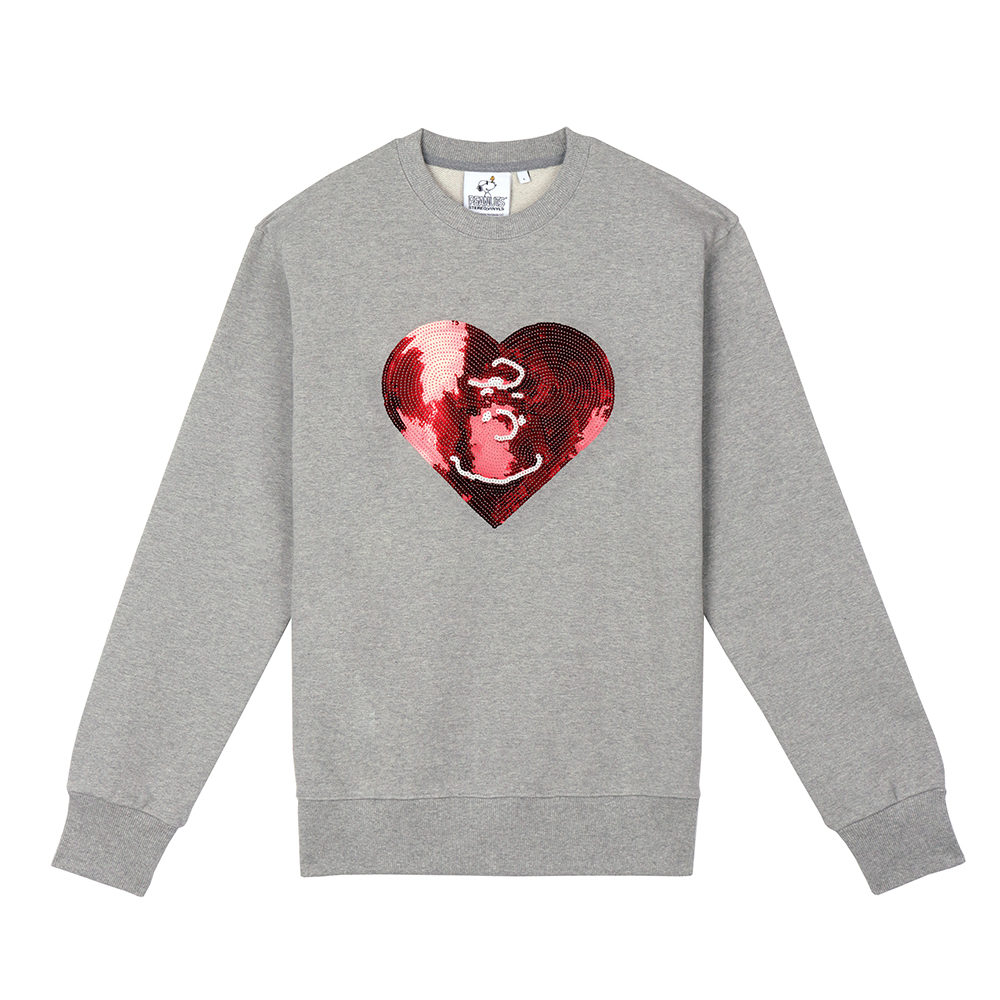 [FW18 Peanuts] Heart Spangle Sweatshirts(Melange Grey) 스테레오 바이널즈