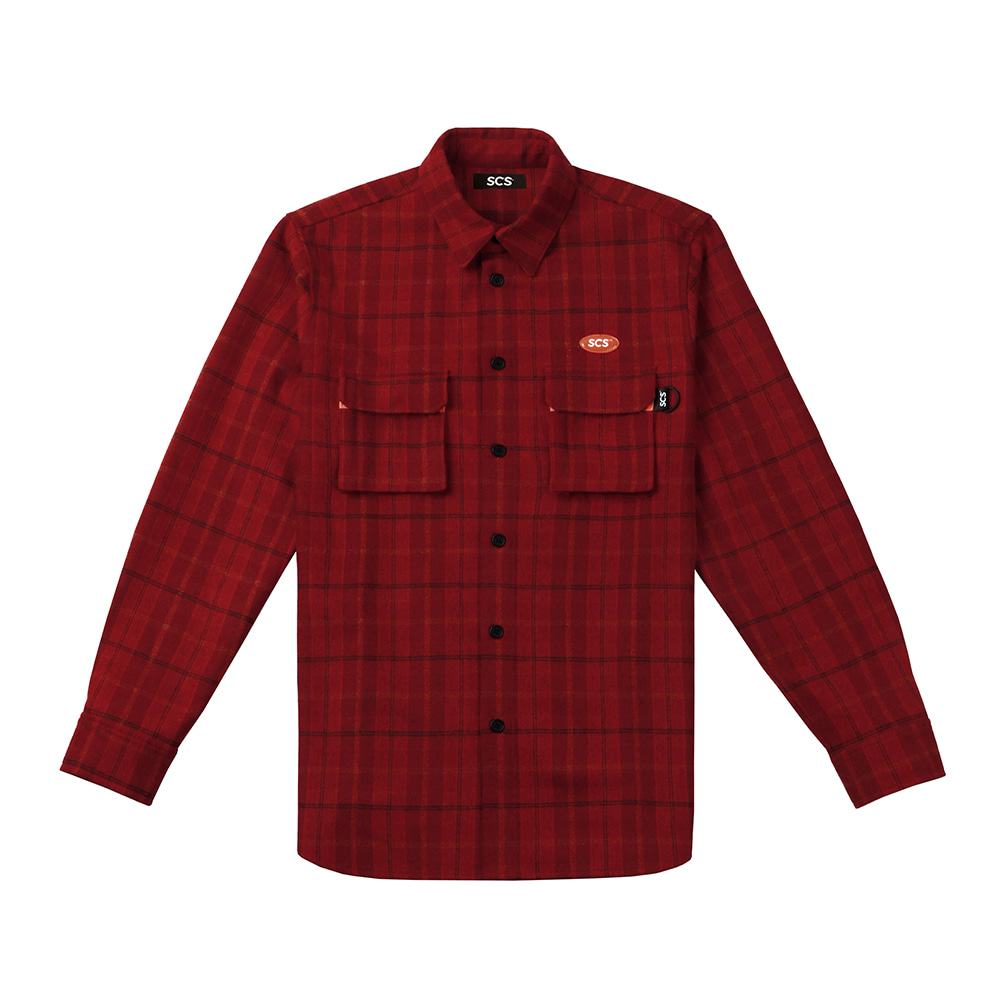 [FW18 SCS] Logo Flannel Shirt(Red) 스테레오 바이널즈