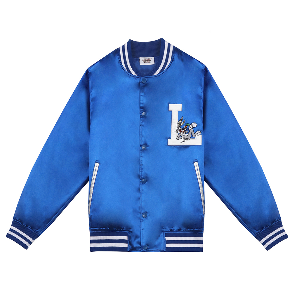 [SS19 STEREO X LOONEY TUNES] Satin Baseball Jumper(Blue) 스테레오 바이널즈