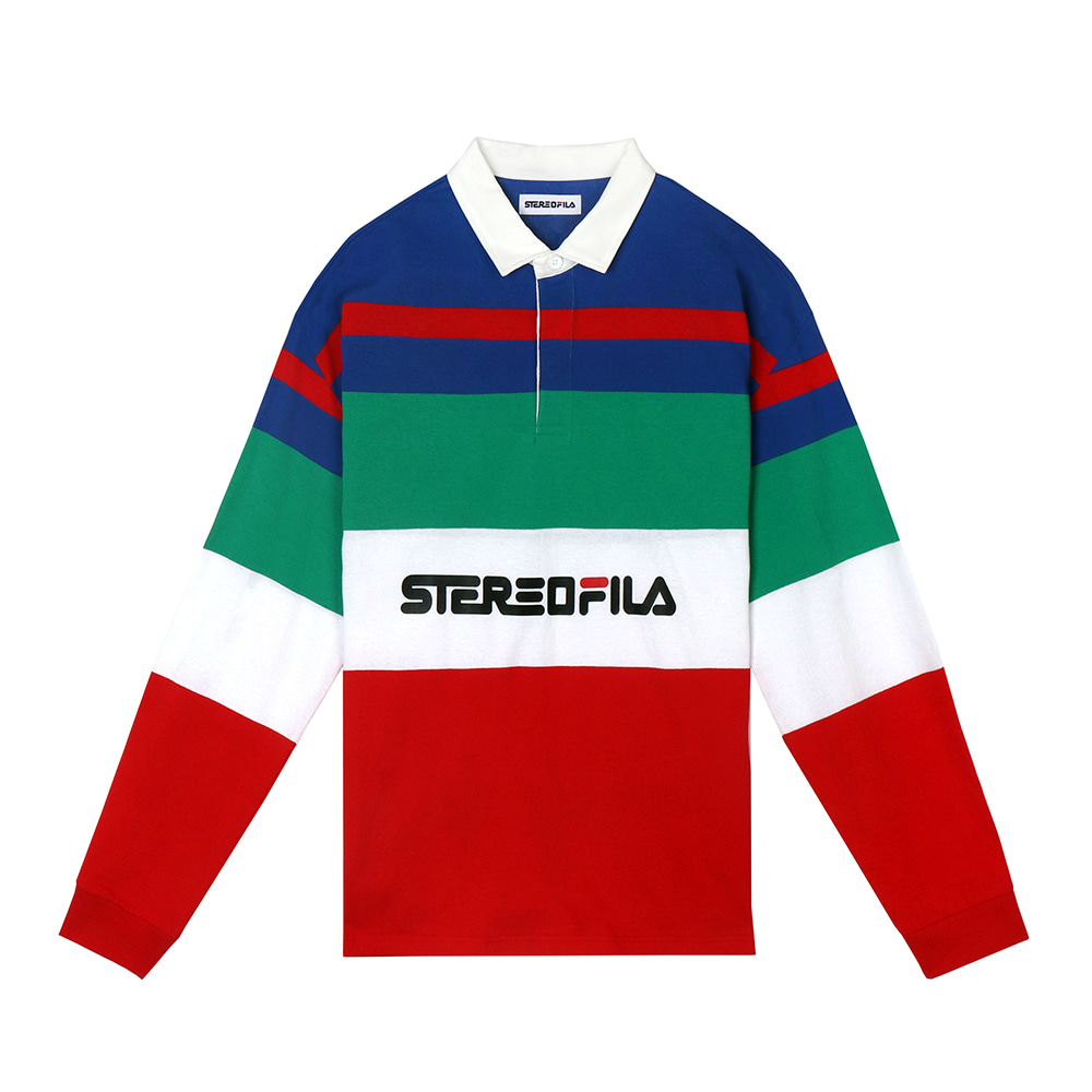 [SS19 STEREO X FILA] Color block Rugby Shirts(Red) 스테레오 바이널즈