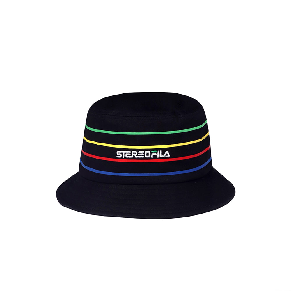 [SS19 STEREO X FILA] Colorful Stripe Bucket(Black) 스테레오 바이널즈