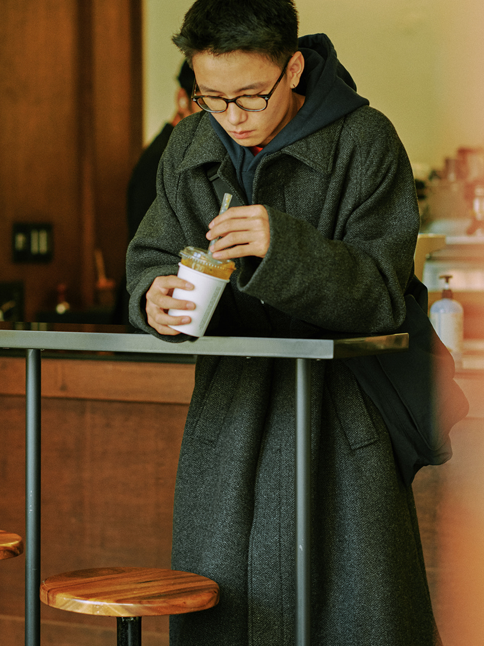 [10/30(금) 예약배송][FW20] Wool Essential Balmacaan Coat(Charcoal) 스테레오 바이널즈[10/30(금) 예약배송][FW20] Wool Essential Balmacaan Coat(Charcoal)